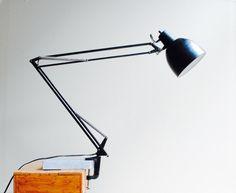 Vintage Black Clamp Lamp Desk Lamp by LittleDogVintage on Etsy
