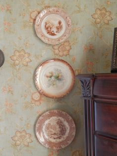 Brown Transferware Plates on wall At Home with the Summer Kitchen Girls