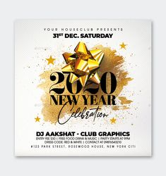 New Year Flyer Template PSD Party Flyer, I Party, New Years Party, Graphic Design Inspiration, Flyer Template, Free Food, Texts, Red And White, Coding
