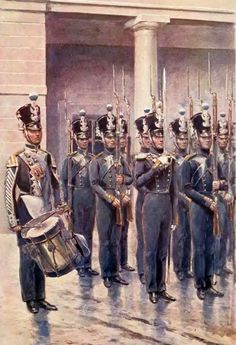 Żołnierze 1 pułku strzelców pieszych Napoleonic Wars, Warsaw, Military History, Painting, Fictional Characters, Drums, Russia, Polish, Pictures