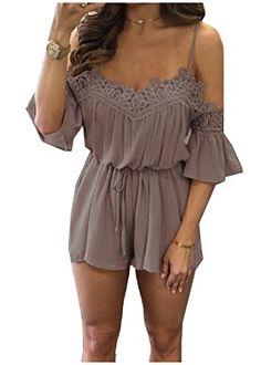 450daad18a4 Off Shoulder Jumpsuit Romper Summer Beach Flare Sleeve Playsuit Casual  Green Lace Women Sexy Slim Soft Chiffon Overalls