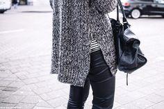 Bloglovin Blog Chunky Side Split Sweater Striped Shirt Leather Pants Balenciaga Bag Blogger Fall Winter Layers Style Via Polienne