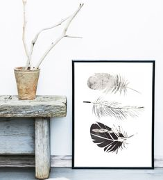 Feather Print Printable Art Feather Art by exileprints on Etsy