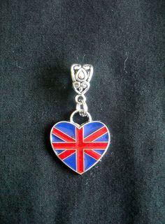 UK Union Jack  Flag Heart-Shaped Charm Pendant  Fits PANDORA Build your 2012 London OLYMPIC Bracelet Now