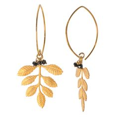 Gold leaves with onyx drops $59