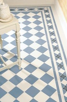 Dorchester pattern with modified Kingsley border incorporating Cardigan decorated tile Black on Blue. Original Style Artworks Skirting in Colonial White and Half tiles in Summer Yellow