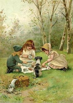 Victorian children enjoying a picnic