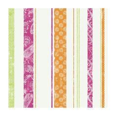 Paisley Stripe Wallpaper, Pink/Green/Orange