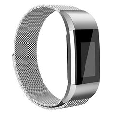AK Fitbit Charge 2 Bands Adjustable Milanese Stainless Steel Metal Band Strap with Magnetic Closure Clasp for Fit bit Charge 2 HR Fitness Tracker Silver Large >>> Read more reviews of the product by visiting the link on the image.