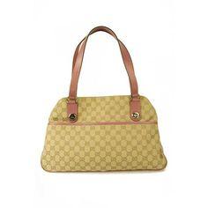 GUCCI GG Monogram Beige Fabric Canvas & Pink Leather Shoulder bag Handbag Tote