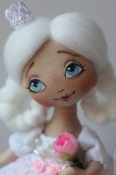 Купить Текстильная куколка.Принцесса с небесно -голубыми глазами. - розовый, кукла ручной работы