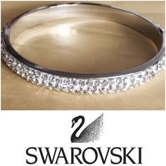 🎉HP🎉 Swarovski crystal bracelet 18 K white gold plated Swarovski crystal eternity bangle. 2mm size stones. Over 500 stones. Simple and gorgeous. Jewelry Bracelets