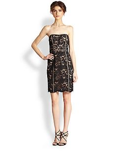 Aidan Mattox Strapless Lace Dress