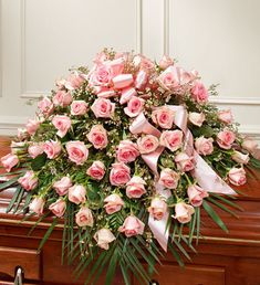 Order Cherished Memories Rose Half Casket Cover - Pink flower arrangements from All Flowered Up Too, your local Lubbock, TX florist. Send Cherished Memories Rose Half Casket Cover - Pink floral arrangement throughout Lubbock and surrounding areas. Arrangements Funéraires, Funeral Floral Arrangements, Pink Flower Arrangements, Casket Flowers, Funeral Flowers, Flowers For You, Pink Flowers, 800 Flowers, Pink Roses