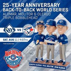 Next Saturday will mark 25 years since our back-to-back World Series. You don't want to miss this historical bobblehead giveaway. 25 Year Anniversary, Toronto Blue Jays, World Series, Bobble Head, Bowling, Giveaway, Baseball Cards, 25th Anniversary