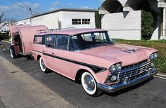 love this vintage pink Rambler car with matching trailer.....