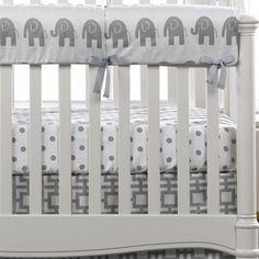 Gray Elephants Crib Rail Cover