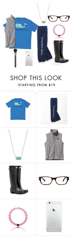 """""""It's Febuary and 55 degrees here"""" by beautylove200 ❤ liked on Polyvore featuring beauty, Vineyard Vines, Kendra Scott, Patagonia, Hunter, Ernest Hemingway and MAC Cosmetics"""