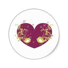 Bird ~ Song Birds Heart Love Scroll Folk Art Sticker #Stickers