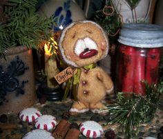 "Primitive Patti's Ratties Fuzzy Gingerbread 5"" Christmas Bear Doll Artist OOAK"