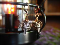 Fun Filigree and Revolver Earrings Statement by TheCrystalCorral