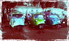Colourful tuk tuk taxi's in Trang, Thailand