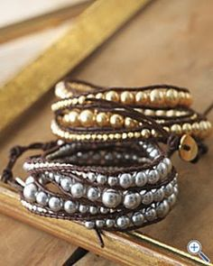 I'm crazy for these Chan Luu pearl and leather bracelets from Garnet Hill. This combination adds edge to a classic.Pearl…