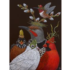 Vicki Sawyer original paintings at Lark & Key Gallery and Boutique, Charlotte NC. Whimsical art - birds and animals with 'hats' and 'masks', angel animals.
