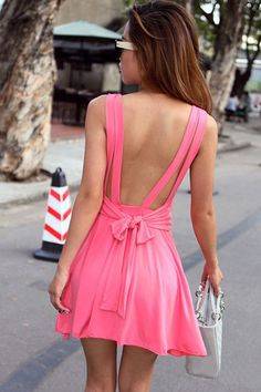 Sleeveless Backless Dress with Bow Knot Back&Round Neck from UsTrendy. Saved to Party Dresses. Passion For Fashion, Love Fashion, Womens Fashion, Pink Fashion, Fashion Shoes, Dress With Bow, Dress Me Up, Looks Style, My Style