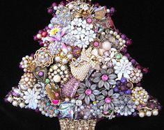 Vintage Jewelry Christmas Tree - Christmas Tree Jewelry Art - Jewelry Tree - Christmas Decor - Burgundy Christmas Tree - Berry Christmas