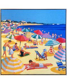"""Umbrellas "" by Paul Norwood - Serena & Lily Site Mouse Illustration, Beach Illustration, Beach Artwork, Canvas Artwork, Umbrella Art, Umbrella Painting, Coastal Art, Seaside Art, Beach Watercolor"