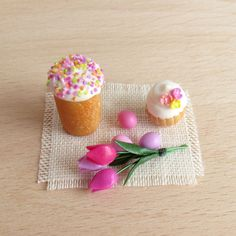 Easter Cake Handmade Dollhouse Miniature (polymer clay)