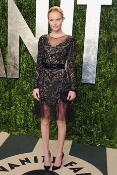 Kate added a bit of rock chick chic to the Vanity Fair Oscar Party, going for black on black with sheer panels.