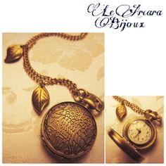 collana con orologio - gufo e foglie www.facebook.com/le.arcarabijoux