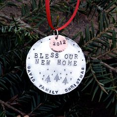 Personalized Christmas Ornament - Stamped Metal - New Home - Holiday Ornament - Family Name and Year.