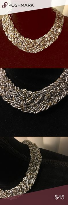 🍾Vintage Silver & Gold Bead Braid Necklace EUC🍾 Vintage bead Statement Piece. Twisted braid style Vintage Jewelry Necklaces