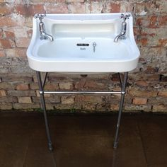 Reclaimed shanks sinks featuring a chrome stand and original shank taps.  For sale on SalvoWEB