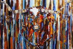 """Laurie Justus Pace at Mirada Fine Art, Rocky Mountain Longhorn, Original Oil on Canvas, 32"""" x 48"""""""