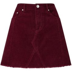 Miss Selfridge Burgundy Corduroy A-Line Skirt ($55) ❤ liked on Polyvore featuring skirts, gonne, burgundy, corduroy skirt, purple skirt, a line skirt, knee length a line skirt and miss selfridge