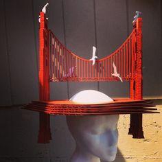 Golden Gate Bridge Hat by SaraPishehDesign on Etsy Paper Hats, Parade Floats, Derby Hats, Golden Gate Bridge, Cosplay, Dreams, Stars, Red, Etsy