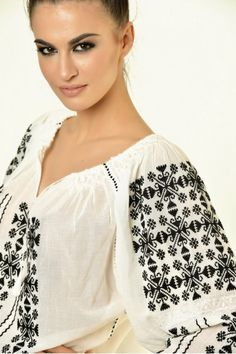 Ie Traditionala Romaneasca Maneca Lunga Motivul Punct In Cruce Folk Clothing, Cross Stitch Tree, Embroidery Patterns, Geek Stuff, Costume, Traditional, Blouse, Beautiful, Clothes