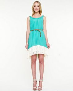 Ghost Gauze High-Low Dress - Pair this pretty high-low hem belted dress with a pair of espadrilles for a chic yet easy-going weekend look. Dress Summer, Everyday Fashion, High Low, Style Me, Turquoise, Sun, How To Wear, Outfits, Clothes