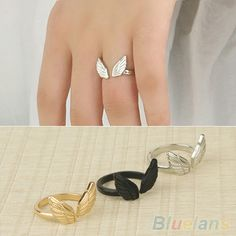 1Pc  Womens Ladies Stylish Angel Wing Shape Cuff Adjustable Opening Ring