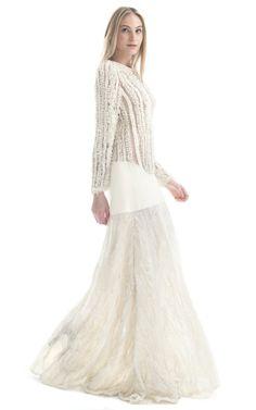 My kind of wedding gown - Paula Raia Off White Textured Illusion Gown at Moda Operandi