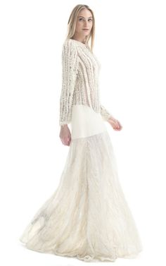 Off White Textured Illusion Gown by Paula Raia