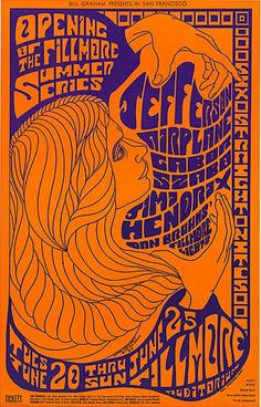 It was 46 years ago June 20, 1967 that the opening of The Fillmore Auditorium Summer Series began with Jefferson Airplane, Gabor Szabo, & Jimi Hendrix. This rock poster was done by a somewhat unknown artist of the time Clifford Charles Seeley.