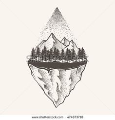 Abstract the mountains. Hand draw Awesome Tattoos, Cool Tattoos, Mountain Illustration, Shoulder Tattoo, Picture Tattoos, Doodle Art, Artsy Fartsy, Drawing Ideas, Line Art
