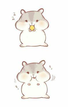 ❥cute hamster more cute animal drawings kawaii, cute cartoon drawings, art drawings,