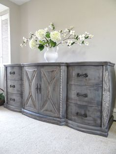 Vintage Hand Painted French Country Cottage Chic Shabby Distressed Grey Dresser / Console Cabinet