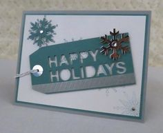 Paper Pumpkin by Diane Vander Galien, Paper Pumpkin November- Simply Snowflakes Added white, lost lagoon and smoky slate card stock to turn the tag into a card!!!